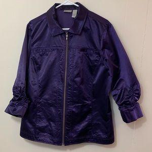 Chicos Size 3 Purple  3/4 Sleeve zip Blazer